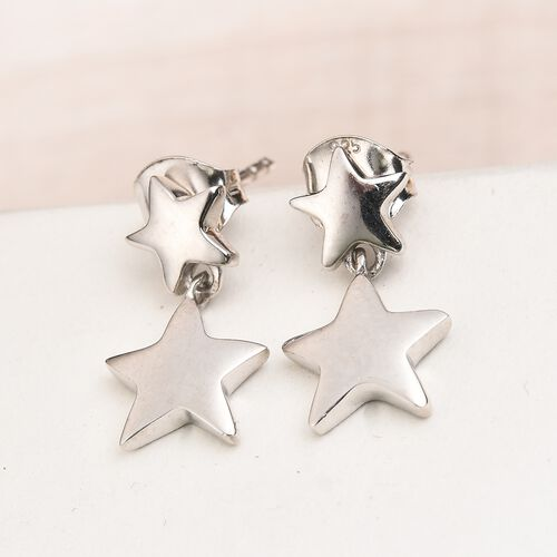 Platinum Overlay Sterling Silver Star Earrings (with Push Back)