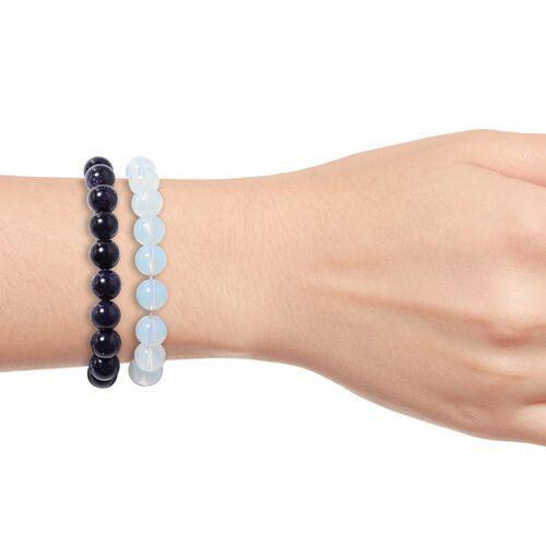 2 Piece Set - Opalite and Blue Sandstone (Rnd 11-13 mm) Stretchable Bead Bracelet (Size 7.5)