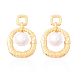 Edison Pearl Earrings in Yellow Gold Overlay Sterling Silver, Silver wt 6.92 Gms