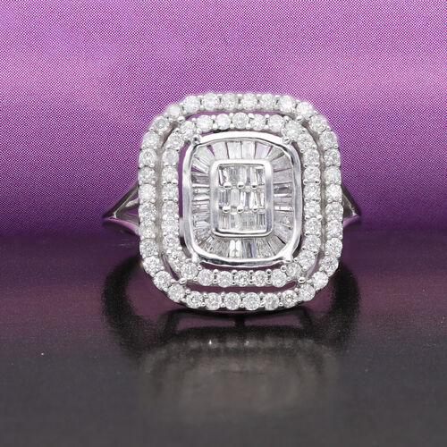 14K White Gold SGL Certified Diamond (I1-I2/G-H) Ring 1.00 Ct, Gold wt. 4.80 Gms