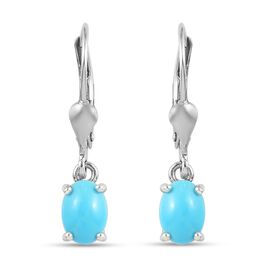 Arizona Sleeping Beauty Turquoise Lever Back Earrings in Platinum Overlay Sterling Silver 1.33 Ct.
