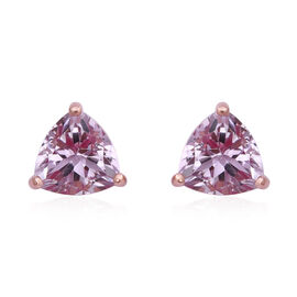 One Time Deal- Rose De France Amethyst (Trl 10 mm) Earrings (with Push Back) in Rose Gold Overlay St