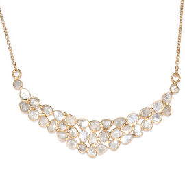 GP Polki Diamond (3.50 Ct.) and Blue Sapphire Necklace (Size 18 with 2 inch Extender) in Yellow Gold