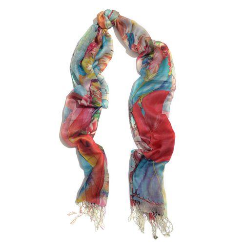 Digital Floral Pattern Multi Colour Scarf (Size 70x180 Cm)