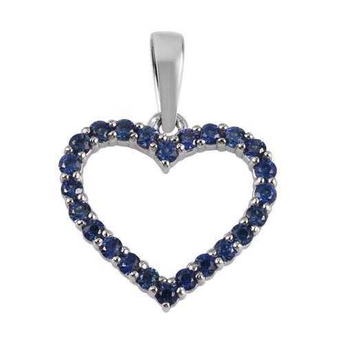 RHAPSODY 950 Platinum AAAA Royal Ceylon Sapphire Open Heart Pendant 0.50 Ct.