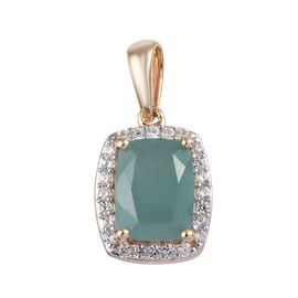 9K Yellow Gold AA Grandidierite (Cush 9x7mm), Natural Cambodian Zircon Pendant  2.40 Ct.