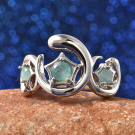 LucyQ Luna Collection - Grandidierite Ring in Rhodium Overlay Sterling Silver