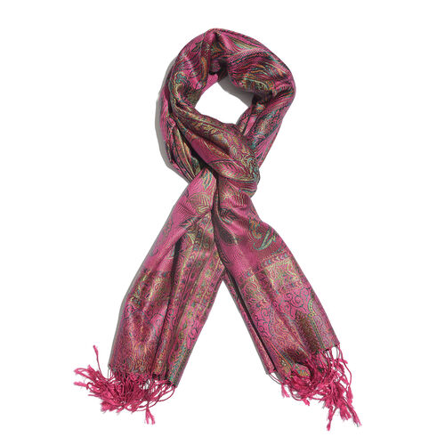 SILK MARK - 100% Superfine Silk Fuchsia, Green and Multi Colour Paisley and Leaves Pattern Jacquard Jamawar Scarf with Fringes (Size 180x70 Cm) (Weight 125-140 Grams)