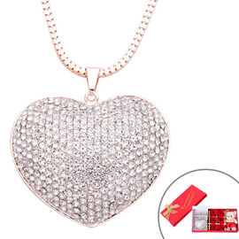 Monster Deal- White Austrian Crystal Heart Pendant with Chain in Rose Gold Tone