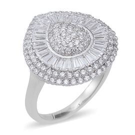 ELANZA Simulated Diamond Cluster Ring in Rhodium Plated Sterling Silver 5.28 Grams