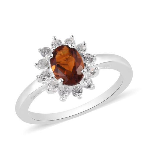 Cherry Citrine and Natural Cambodian Zircon Halo Ring in Sterling Silver 1.00 Ct.