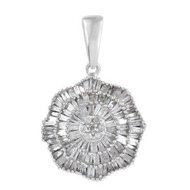 Diamond (Rnd and Bgt) Pendant in Platinum Overlay Sterling Silver 1.000 Ct.