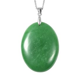 110.50 Ct Extremely Rare Green Jade Solitaire Pendant with Chain in Rhodium Plated Silver