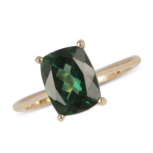 9K Y Gold Teal Green Apatite (Cush) Solitaire Ring 3.000 Ct.