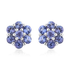 Tanzanite (Rnd) Earrings (with Push Back) in Platinum Overlay Sterling Silver 2.000  Ct.
