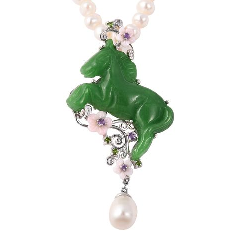 Carved Green Jade and Multi Gemstone Horse Shaped Bead Necklace (Size 18) in Rhodium Overlay Sterling Silver 226 Ct. Silver wt. 7.70 Gms