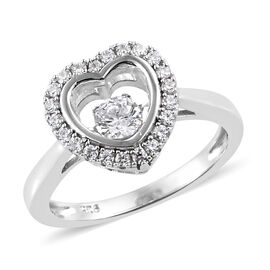 J Francis - Platinum Overlay Sterling Silver (Rnd) Heart Ring Made with SWAROVSKI ZIRCONIA
