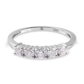 0.50 Ct White Diamond Ring in 14K W Gold,  Gold Wt. 2.25 Gms