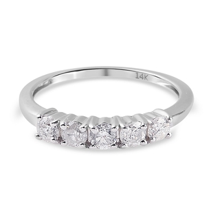 14K W Gold SGL Certified Diamond (I2/ G-H) Ring 0.50 Ct.