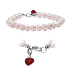 Freshwater Pearl (Rnd) Bracelet (Size 7.5) with Enamelled Heart Charm in Platinum Overlay Sterling S