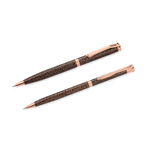 Set of 2 Pen with Simulated Diamond (Size 13.5 Cm) - Colour Copper