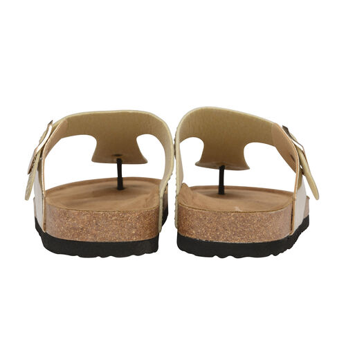 Dunlop Dionne Open Toe Flat Sandals (Size 6) - Rose Gold