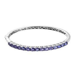 AA Tanzanite Bangle (Size 7.5) in Platinum Overlay Sterling Silver 5.84 Ct, Silver wt 14.00 Gms