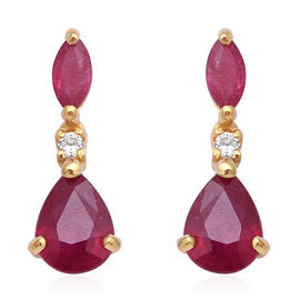 3.69 Ct African Ruby and Cambodian Zircon Drop Earrings in Sterling Silver
