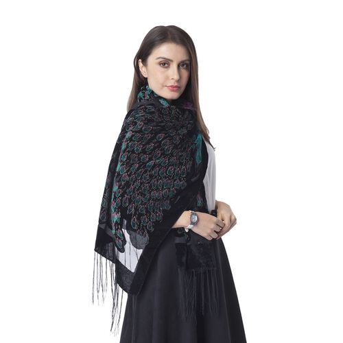 Designer Inspired- Black, Dark Green and Purple Colour Peacock Pattern Scarf with Tassels (Size 160x50 Cm)