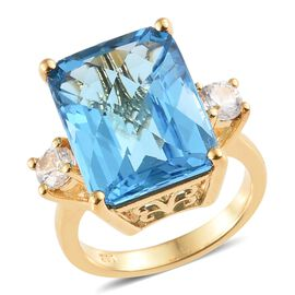 WEBEX- Electric Blue Topaz (Oct 13.75 Ct), Natural Cambodian Zircon Ring in 14K Gold Overlay Sterling Silver 14.500 Ct, Silver wt. 4.67 Gms.