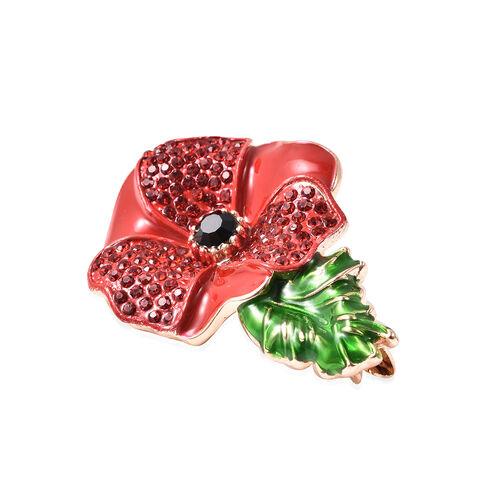 TJC Poppy Design - Black and Red Austrian Crystal Enamelled Poppy Flower Brooch