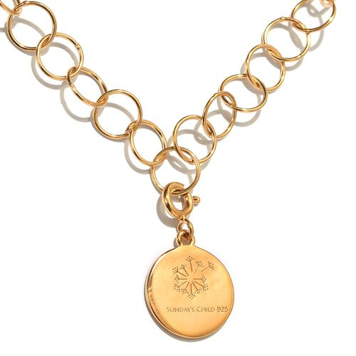 Sundays Child - 14K Gold Overlay Sterling Silver Round Link Necklace (Size 30) with Charm, Silver wt