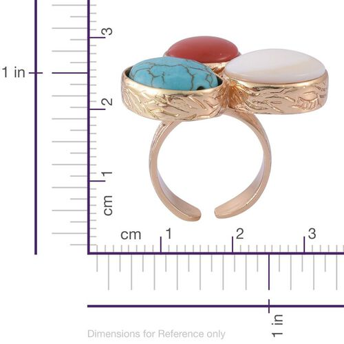 White Shell, Blue Howlite and Simulated Ruby Ring in Gold Tone