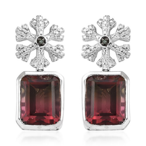 Finch Quartz (Oct 11x9 mm), Diamond and Green Diamond Snow Flake Earrings (With Push Back) in Platin