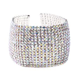 Simulated Mystic White Crystal (Rnd) Bracelet (Size 7.5) in Silver Tone