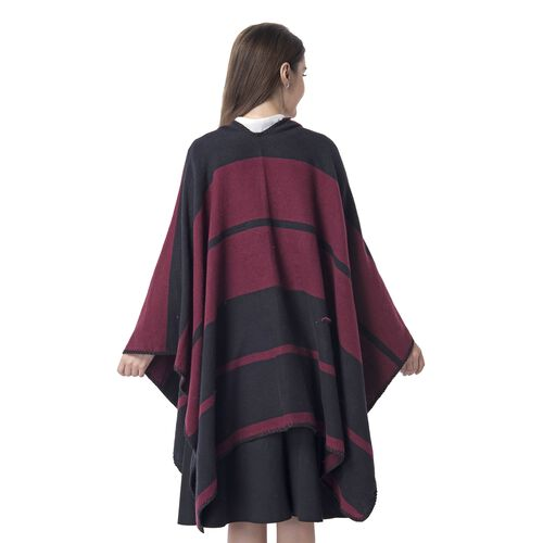 One Time Deal-Black and Red Colour Big Stripe Pattern Blanket Kimono (Size 130x70 Cm)