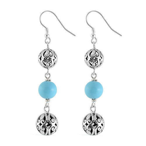 Royal Bali Collection - Arizona Sleeping Beauty Turquoise Hook Earrings in Sterling Silver 10.00 Ct, Silver wt 8.00 Gms