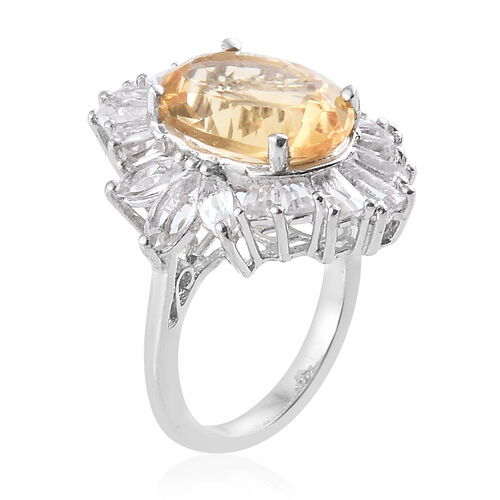 Designer Inspired- Citrine (Ovl 14x10 mm 5.30 Ct), White Topaz Ring in Platinum Overlay Sterling Silver 8.500 Ct.