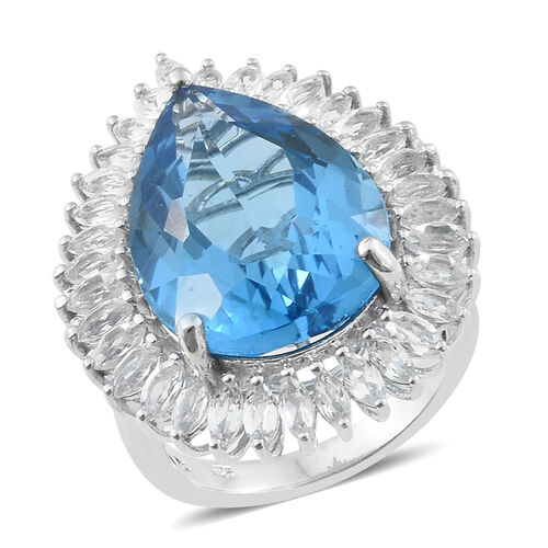TJC Launch - Marambaia Topaz (Pear 25.25 Ct), White Topaz Ring in Platinum Overlay Sterling Silver 28.750 Ct. Silver wt 8.38 Gms.
