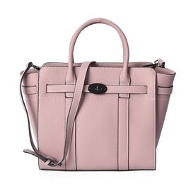 100% Genuine Leather Litchi Pattern Tote Bag (Size 38x28.5x12.5x26 Cm) with Detachable Shoulder Stra