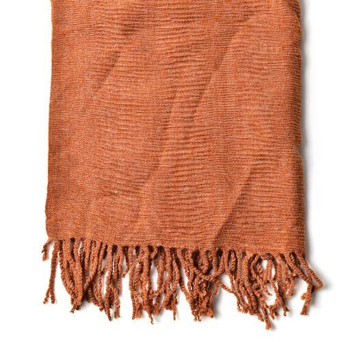 Dark Orange Colour Scarf with Fringes (Size 200x60 Cm)