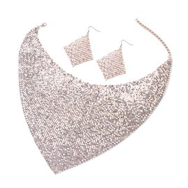 Glittering Rose Gold Collar Necklace (Size 20) and Hook Earrings in Rose Gold Tone