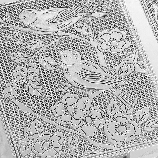 Set of 2 - Humming Bird Embossed Jewellery Storage Box with Wine Red Velvet Lining (Size 17.7x12.7x5.08 Cm)