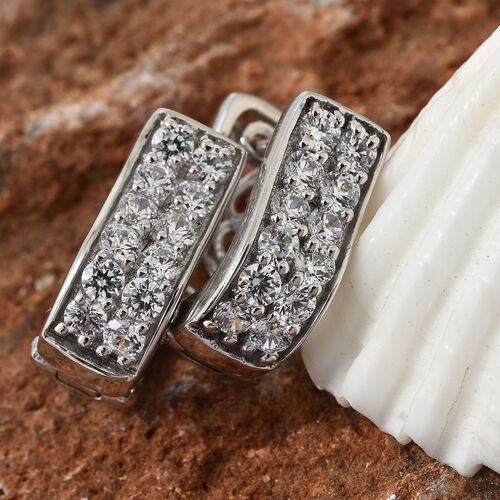 J Francis - Platinum Overlay Sterling Silver (Rnd) Earrings (with Clasp Lock) Made With SWAROVSKI ZIRCONIA