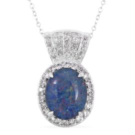 Boulder Opal and Cambodian Zircon Halo Pendant with Chain in Sterling Silver 3.10 Grams 18 Inch