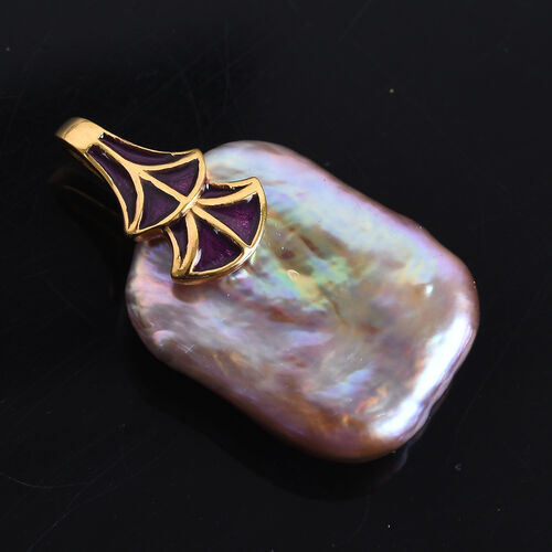 Baroque Pearl Enamelled Pendant in 14K Gold Overlay Sterling Silver