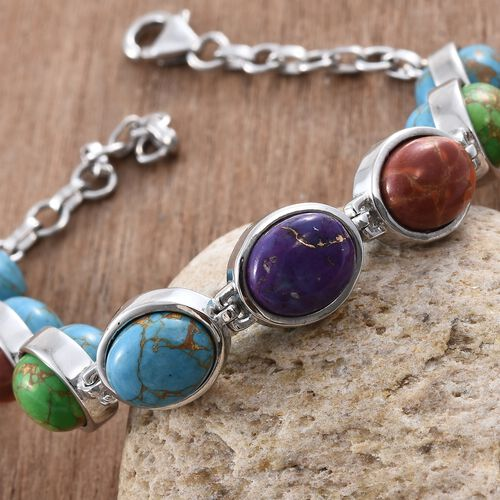 One Time Deal- Mojave Blue Turquoise (Ovl), Mojave Green, Purple and Orange  Turquoise Bracelet (Size 7.5) in Platinum Overlay Sterling Silver 41.000 Ct.