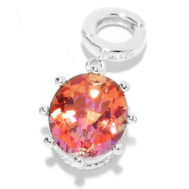 5.13 Ct Moon Glow Orange Coated Topaz Pendant in Platinum Plated Sterling Silver