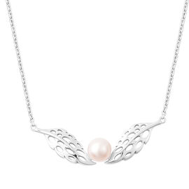 RACHEL GALLEY - Freshwater White Pearl Feather Necklace (Size 24)  in Rhodium Overlay Sterling Silve