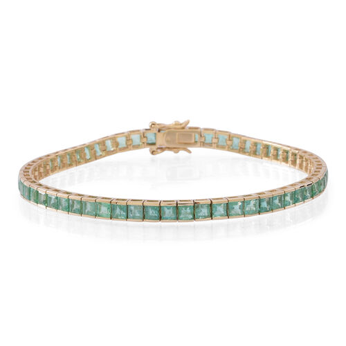 Limited Edition 9K Yellow Gold AAA Kagem Zambian Emerald (Sqr) Tennis Bracelet (Size 7.5) 10.000 Ct.